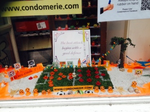 Window display of condoms.
