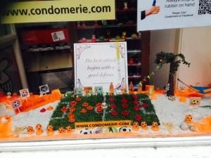Window display of condoms.