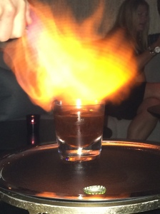 Flaming drink - second course.