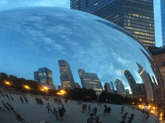 Sky line reflected from the Bean